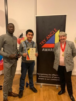 DYC Secretary and Treasurer, Ricky and Toju, joined by Chairman of Kent County Council and Dartford Youth Council Portfolio Holder, Cllr Ann Allen MBE - Credit: Dartford Youth Council